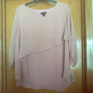 Alyx Brand 2X plus size 3/4 sleeve blush top